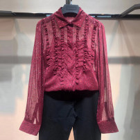 shirt claret 2 = s, 3 = m, 4 = L, 5 = XL Spring 2021 other 96% and above Long sleeves Versatile Regular Polo collar routine Broken flowers Self cultivation O'amash banner Chiffon