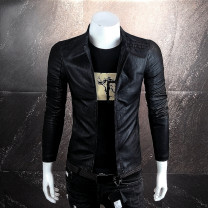 leather clothing Others Fashion City Black, black (winter) M,L,XL,2XL,3XL,4XL routine Imitation leather clothes stand collar Slim fit zipper spring leisure time youth PU Youthful vigor Straight hem Side seam pocket Quilting No iron treatment