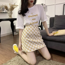 Dress Summer 2020 White T + yellow plaid skirt white T + Blue Plaid Skirt S M L XL Short skirt Two piece set Short sleeve Sweet Crew neck High waist lattice Socket A-line skirt 18-24 years old Type A Love fame and elegance FL19581 More than 95% other Other 100% Mori Pure e-commerce (online only)