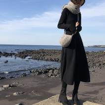 Dress Winter 2020 Black apricot S M L XL longuette singleton  Long sleeves commute Crew neck High waist Solid color Socket Big swing routine 18-24 years old Type A Love fame and elegance Korean version Splicing More than 95% knitting other Other 100% Pure e-commerce (online only)