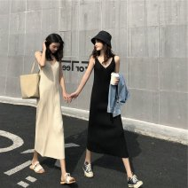 Dress Winter 2020 Black apricot S M L XL longuette singleton  Sleeveless commute V-neck High waist Solid color Socket One pace skirt straps 18-24 years old Type H Love fame and elegance Korean version backless XH4659D More than 95% knitting other Other 100% Pure e-commerce (online only)