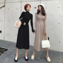 Dress Autumn of 2019 Black Camel S M L XL Mid length dress singleton  Long sleeves commute Crew neck High waist Solid color Socket A-line skirt 25-29 years old Type A Love fame and elegance Korean version Splicing XH4813 More than 95% other Other 100% Pure e-commerce (online only)