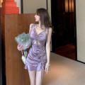 Dress Summer 2021 lavender S,M,L Short skirt singleton  Sleeveless commute V-neck High waist Solid color Socket One pace skirt routine 25-29 years old Korean version polyester fiber
