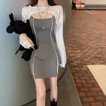 Dress Autumn 2020 Grey suspender skirt + white Long Sleeve Shirt S,M,L Short skirt Two piece set Long sleeves commute Crew neck High waist Solid color Socket A-line skirt routine Others Type A Korean version Splicing polyester fiber