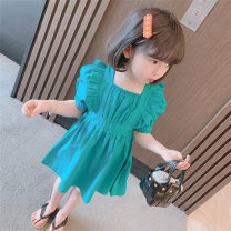 Dress female Other / other 90cm,100cm,110cm,120cm,130cm Other 100% summer princess Short sleeve Solid color cotton Pleats 7 years old, 8 years old, 12 months old, 3 years old, 6 years old, 18 months old, 9 months old, 6 months old, 2 years old, 5 years old, 4 years old