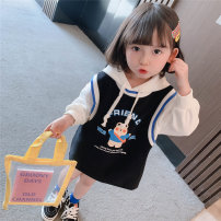 Dress Black, pink female Other / other 80cm,90cm,100cm,110cm,120cm,130cm Other 100% spring and autumn Korean version Long sleeves Cartoon animation cotton other 12 months, 9 months, 18 months, 2 years old, 3 years old, 4 years old, 5 years old, 6 years old, 7 years old, 8 years old