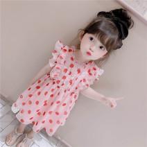 Dress Pink female Other / other 80cm,90cm,100cm,110cm,120cm,130cm Other 100% summer other Pleats 12 months, 6 months, 9 months, 2 years old, 3 years old, 4 years old, 5 years old, 6 years old, 7 years old, 8 years old