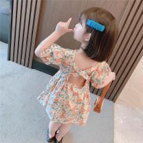 Dress Pink flower, yellow flower and green flower female Other / other 90cm,100cm,110cm,120cm,130cm Other 100% summer Korean version Short sleeve Broken flowers cotton Pleats Chinese Mainland