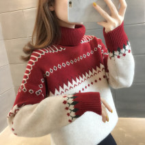 sweater Winter 2020 S M L XL Orange red blue Long sleeves Socket singleton  Regular other 95% and above High collar thickening commute routine shape Straight cylinder Regular wool Keep warm and warm You've got to go A06753 Other 100%
