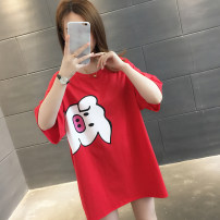 T-shirt Red white black S M L XL Summer of 2019 Short sleeve Crew neck easy Medium length routine commute other 96% and above Korean version Animal design You've got to go Other 100% Pure e-commerce (online only)