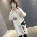 sweater Winter of 2018 S M L XL Red pink black off white Khaki Plush - off white plush - red plush - Pink Plush - khaki Plush - Black NEW Plush - leather powder Long sleeves Socket singleton  Medium length other 95% and above Half high collar thickening commute routine Cartoon animation Regular wool