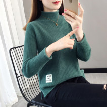 sweater Winter 2020 S M L XL Green yellow pink black Long sleeves Socket singleton  Regular other 95% and above Half high collar thickening commute routine Straight cylinder Regular wool Keep warm and warm You've got to go N8836 Other 100% Pure e-commerce (online only)