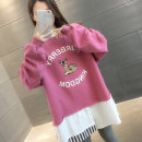 Sweater / sweater Spring 2021 Rubber red gray dark purple Navy S M L XL Long sleeves routine Socket Fake two pieces routine Crew neck easy commute routine Cartoon animation 18-24 years old 96% and above You've got to go Korean version other H01292 printing cotton Cotton liner Other 100%