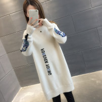 sweater Winter of 2018 S M L XL Blue Black Beige light coffee Beige Plush Blue Plush light coffee Plush black Plush Long sleeves Socket singleton  Medium length other 95% and above Crew neck thickening commute routine Straight cylinder Regular wool Keep warm and warm You've got to go AS18D3251F