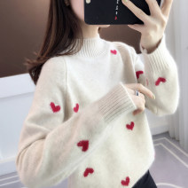 sweater Winter 2020 S M L XL Beige pink dark blue Long sleeves Socket singleton  Regular other 95% and above Half high collar thickening commute routine Straight cylinder Regular wool Keep warm and warm You've got to go X26600 thread Other 100% Pure e-commerce (online only)