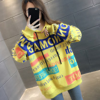 Sweater / sweater Autumn 2020 Yellow white black S M L XL Long sleeves routine Socket singleton  routine Hood easy commute routine letter 96% and above You've got to go Korean version other A06192 printing Other 100%