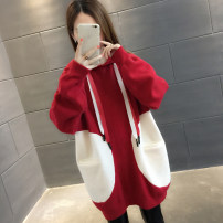 sweater Winter of 2018 S M L XL Off white red black Long sleeves Socket singleton  Medium length other 95% and above Hood thickening commute routine Straight cylinder Regular wool Keep warm and warm You've got to go A00066 pocket Other 100% Pure e-commerce (online only)