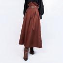 Casual pants Reddish brown Average size Autumn of 2019 trousers Wide leg pants High waist original Thin money Steam continent polyester fiber rivet polyester fiber