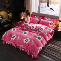 Bedding Set / four piece set / multi piece set Polyester (polyester fiber) other Plants and flowers Imported mink fox velvet Heart return Polyester (polyester fiber) 4 pieces other 1.2m (4 ft) bed, 1.5m (5 ft) bed, 1.8m (6 ft) bed, 2.0m (6.6 ft) bed Sheet type, fitted sheet type, bed skirt type other