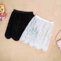 skirt Autumn 2020 Average size 85-110kg, large size (110kg-150kg) White, black, 15 days no reason for return and exchange, collect and buy again send (freight insurance) priority delivery Short skirt Versatile Natural waist Solid color 18-24 years old 91% (inclusive) - 95% (inclusive) Lace nylon
