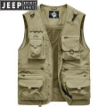 Vest / vest Fashion City Jeep / Jeep Khaki, dark blue, army green, grey, jujube Travel? easy Vest Plush and thicken spring No collar 2020 Military brigade of tooling ZB0163 Solid color zipper Cloth hem Polyester 100% Multiple pockets Three dimensional bag