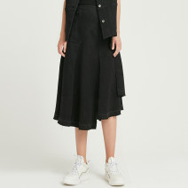 skirt Spring of 2019 S M L black Mid length dress commute Natural waist Irregular Solid color 30-34 years old More than 95% iii viviniko cotton Simplicity Cotton 99% polyurethane elastic fiber (spandex) 1% Same model in shopping mall (sold online and offline)