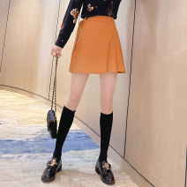 skirt Spring 2021 S M L XL 2XL Black yellow Short skirt commute High waist A-line skirt Solid color 25-29 years old More than 95% Wool Baabi Baaby other zipper Other 100% Pure e-commerce (online only)