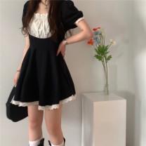Dress Summer 2020 Black and white Average size Short skirt singleton  Short sleeve