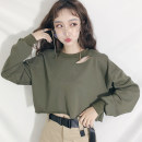 Sweater / sweater Spring 2021 Army green Average size Long sleeves UltraShort  Socket singleton  routine Crew neck easy street routine Solid color 18-24 years old 91% (inclusive) - 95% (inclusive) other cotton Cotton liner Europe and America