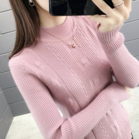 sweater Autumn of 2019 Average size Beibai blue light coffee pink color card, its black color Long sleeves Socket singleton  Regular other 95% and above Half high collar thickening shape Straight cylinder Regular wool Ice face byttl9823 Other 100% Pure e-commerce (online only)