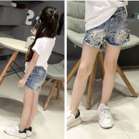 trousers Mo Mo Da female 100cm(7),110cm(9),120cm(11)),130cm(13),140cm(15),150cm(17),160(19) Denim shorts summer shorts Korean version There are models in the real shooting Jeans Leather belt middle-waisted Cotton denim Don't open the crotch Cotton 100% Class A Chinese Mainland Zhejiang Province