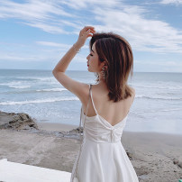 Dress Summer of 2019 Black, white S,M,L Middle-skirt singleton  Sleeveless commute V-neck High waist Solid color Socket Irregular skirt other camisole Type A Ziqing Korean version Asymmetry 51% (inclusive) - 70% (inclusive) brocade cotton