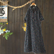 Dress Summer 2020 Printed black M, L longuette singleton  elbow sleeve commute Doll Collar Loose waist other Socket A-line skirt Others Type A The west is short literature Pockets, stitching, buttons, prints Q2966 More than 95% other hemp