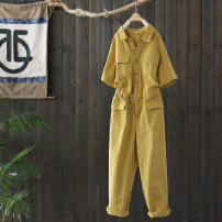 Casual pants turmeric M, L Spring 2021 trousers Overalls Natural waist commute routine 96% and above K2688 The west is short cotton Simplicity pocket cotton