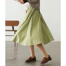 skirt Summer 2021 Average size Vibrant orange, Matcha green, elegant white, versatile black Mid length dress commute High waist A-line skirt Solid color Type A Q3409 More than 95% The west is short cotton Pleats, pockets, stitching literature