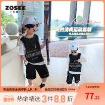 suit Zuo Xi 110cm 120cm 130cm 140cm 150cm 160cm male summer leisure time Short sleeve + pants 2 pieces routine No model Socket nothing letter other children Giving presents at school Class B Other 100% Summer 2021