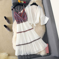 Dress Summer of 2018 Single sunscreen white, single skirt white, suit skirt white S,M,L,XL Mid length dress Two piece set three quarter sleeve Sweet V-neck middle-waisted Decor Socket Big swing Lotus leaf sleeve Others Type A Kakaya Splicing 81% (inclusive) - 90% (inclusive) Chiffon polyester fiber