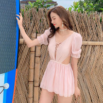 one piece  Nuoximan M,L,XL Pink Skirt one piece With chest pad without steel support nylon NXM2104 female Middle sleeve Casual swimsuit Solid color