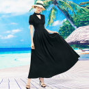 Dress Summer 2021 black S M L XL 2XL 3XL 4XL longuette singleton  Short sleeve commute V-neck middle-waisted Decor Socket Big swing other Others 40-49 years old Type A Tiffany Runchi Retro DZ2657 More than 95% polyester fiber Polyethylene terephthalate (polyester) 100% Pure e-commerce (online only)