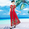 Dress Autumn 2020 Red long sleeve red short sleeve S M L XL 2XL 3XL 4XL longuette singleton  Long sleeves commute Crew neck middle-waisted Decor Socket Big swing routine Others 40-49 years old Type A Tiffany Runchi Retro DZ1259 More than 95% Chiffon polyester fiber Pure e-commerce (online only)