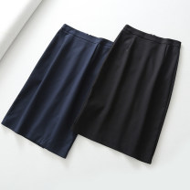 skirt Autumn of 2018 XS,S,M,L Black, Navy Mid length dress High waist Solid color