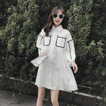 Dress Summer 2021 white S,M,L,XL,2XL Middle-skirt singleton  three quarter sleeve commute Polo collar middle-waisted Solid color Single breasted Princess Dress other Others 18-24 years old Korean version T-053 More than 95% other other