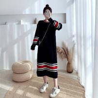 Women's large Winter 2020, autumn 2020 212 black sweater singleton  commute moderate Socket Long sleeves Korean version Collage 25-29 years old longuette