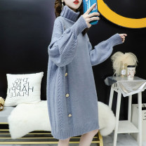 Women's large Winter 2020, autumn 2020 740 blue, 740 off white Xl140-170kg, 2xl170-200kg, 3xl200-250kg, 4xl250-310kg sweater singleton  commute moderate Socket Long sleeves Korean version polyester Collage 25-29 years old