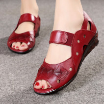 Sandals Black, wine red top layer leather Other / other Fish mouth Flat bottom Low heel (1-3cm) Summer 2020 Elastic band comfortable Solid color Injection pressure shoes Middle aged (40-60 years old), elderly (over 60 years old) TPR (tendon) daily Back space Low Gang Microfiber skin Microfiber skin