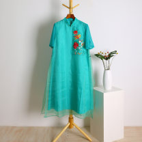Dress Summer of 2019 Water green XL,2XL Other / other K0523-96