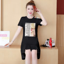 Dress Summer 2020 White, black S,M,L,XL,2XL,3XL Mid length dress singleton  Short sleeve commute Crew neck Loose waist character Socket Ruffle Skirt routine 18-24 years old Type H Korean version Patch, splice MM#672 51% (inclusive) - 70% (inclusive) cotton