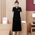Dress Summer 2020 black M,L,XL,2XL,3XL,4XL Mid length dress singleton  Short sleeve commute Polo collar Loose waist letter Socket One pace skirt routine 18-24 years old Type H Korean version Embroidery MM#9666A 81% (inclusive) - 90% (inclusive) cotton