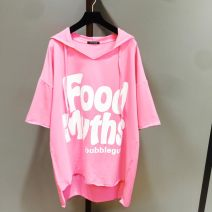 T-shirt Summer 2021 Short sleeve Hood easy Medium length Bat sleeve commute cotton 96% and above 25-29 years old Korean version classic letter Other / other Asymmetry, printing