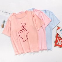 T-shirt Black, red, white, blue, pink, shrimp pink S,M,L,XL,XXL,XXXL Summer 2020 Short sleeve Crew neck Straight cylinder street other 96% and above 18-24 years old printing